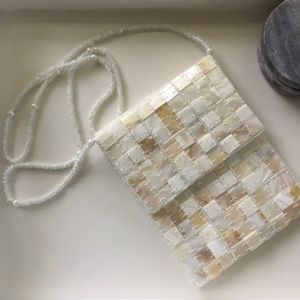 Mad By Design White Silk Natural Horn Beaded Purse